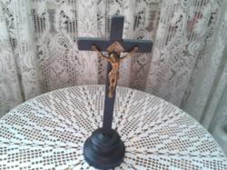 RÉGI FA KERESZT FEKETE, RÉZ JÉZUSSAL KÉPEK SZERINTI