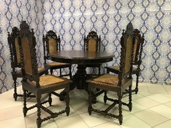 Antik neoreneszánsz étkezőasztal 6 székkel