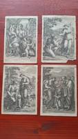 4 darab 19.sz-i klasszicista, allergorikus kőnyomat H.Lips feulp