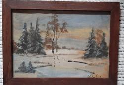 Kádár Géza szignóval ellátott , régi festmény