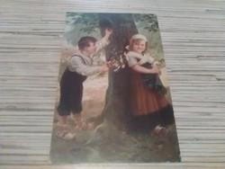 Antik képeslap. A kis udvarló.