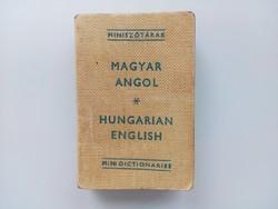 Régi minikönyv, magyar - angol miniszótár 1973