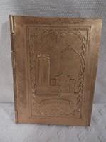 Rézborítású - mini képeskönyv - mongol nevezetességekkel - 7 x 5 cm