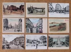 100 darab Budapesti képeslap, 1890-1900 körül, 9x11 db + 1 db