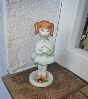 Aquincumi lány cicával, cicás lány, Gyűjtői ritkább darab., nipp, figura, nosztalgia darab