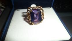 Pénzverdés 14K arany gyűrű / ametiszt