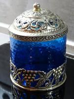 Antik kobaltkék üveg cukorkás doboz alpakka talprésszel és fedővel