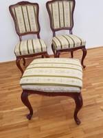 Bécsi barokk ülőgarnitúra 7 db-os (4 szék, puff, fotel, asztal)
