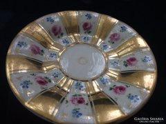 1844  KPM Berlin opulensen aranyozott rózsás teás csésze alátét 15 cm