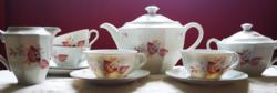 Régi Drasche porcelán teáskészlet  virág mintával