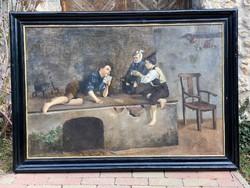 Hatalmas 19.sz Antik Olasz Festmény: Domani Carlos