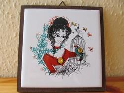 Kerámia kép fali dísz lány