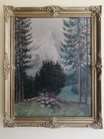 Antik festmény, tájkép - Erdő részlet heggyel a háttérben