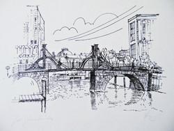 Jungfern híd , szignált német tusrajz
