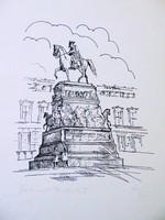 Nagy Frigyes , szignált német tusrajz