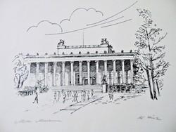 Altes múzeum , szignált német tusrajz
