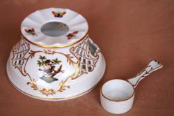 Herendi Rotschild mintás áttört tea melegítő és kanál