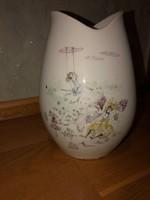 MIA LEDERER által szignózott, kézzel festett Bavaria Hutschenreuther porcelán váza