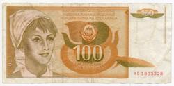 Jugoszlávia 100 jugoszláv Dínár, 1990
