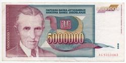 Jugoszlávia 5000000 jugoszláv Dínár, 1993