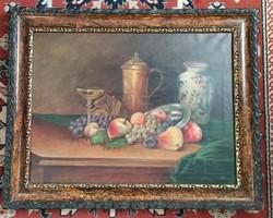 ANTIK Gyönyörü keretes CSENDÉLET régi olaj festmény 69x 55 cm