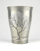 0Z382 Régi jelzett ón kupa ón pohár 10 cm