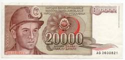 Jugoszlávia 20000 jugoszláv Dínár, 1987, szép