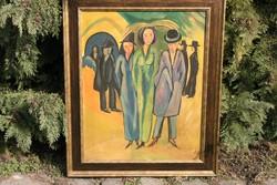 """Glonczy Károly ( 1900 - 1950-es évek) """"Találkozó!"""" - egy remek art deco festmény!"""