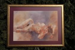 """Hankó Béla ( 1954 -) """"Fekvő akt!"""" - csodálatos akvarell festmény!"""