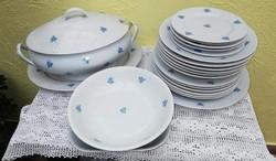 Zsolnay porcelán étkészlet, készlet, kék mintás. Tányér, pecsenyés,levesestál, köretes,
