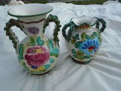2 db csodás kézzel készült kézzel festett  csavart fülű váza csak párban eladók