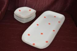 Retro Hollóházi süteményes készlet ritka mintával  ( DBZ 0083 )