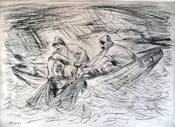 """Borsos Miklós ( 1906-1990) """" Halászok viharban  """""""