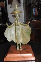 Varázsló - bronz szobor márvány talapzaton