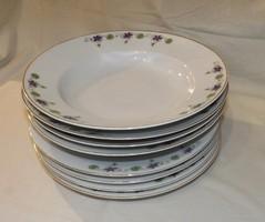 Hüttl Tivadar szecessziós  mély és sekély tányér 4-4 db ,ibolya mintás  ,ritka !!!!!!!!!!!!!!!!!