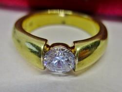 Különleges kézműves  aranyozott ezüstgyűrű brill csiszolású kristállyal