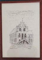 Anholt városháza, német tusrajz