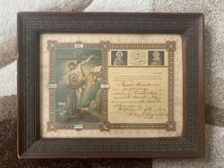 Apáca szent fogadalmi levél , antik irat ! Hit , vallás