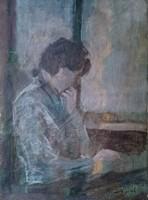 Bernáth Aurél? (szignóval) Olvasó férfi portré... Talán vázlat? Utolsó képen hasonló aláírás látható