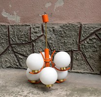Retro Mid-century modern 6 karos üveggömb lámpák mennyezeti lámpa működőképes Szarvasi Fémárugyár