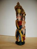 Régi festett, faragott fa Szűz Mária szobor