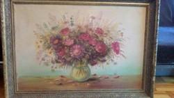 Böröczky Ferenctől Lila virágcsokor csendélet 90x60 cm méretben kissé kopottas kerettel