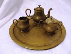 Meseszép, antik, valaha ezüstözött kávé vagy tea szervírozó készlet, hozzá illő nagy tálcával