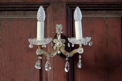 Retro kristályüveg falikar pár , kristály lámpa , gyertya izzós , antik hatású