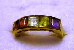 Vintage 14 Kt sárga arany gyűrű aqua, ametiszt, topáz, gránát és peridot drágakövekkel