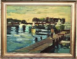 Schéner Mihály (1923 - 2009) Alkonyat a mólón Balaton olajfestmény 90x70cm EREDETI GARANCIÁVAl