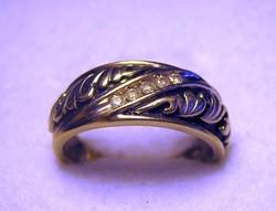 Vintage 10 Kt fehér arany gyűrű gyémántokal