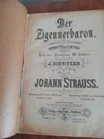Johann Strauss - A cigánybáró operett antik könyv, kotta