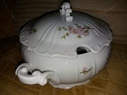 Zsolnay lila barackvirágos levesestál fedéllel