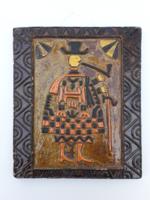 Dávid L retro kerámia falikép - falidísz pipázó juhász kanász figurával - iparművész zsűrizett